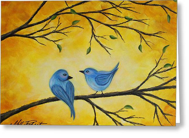 Blue Birds Greeting Card by Molly Roberts