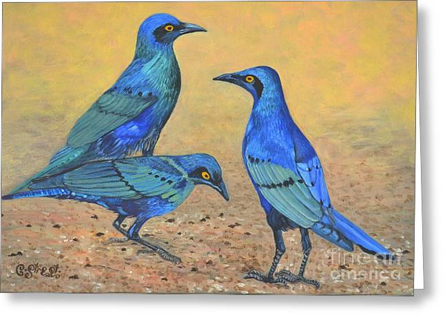 Caroline Street Greeting Cards - Blue Birds of Happiness Greeting Card by Caroline Street