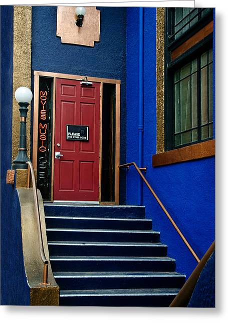 Bisbee Greeting Cards - Blue Bisbee Stairwell Greeting Card by Dave Dilli