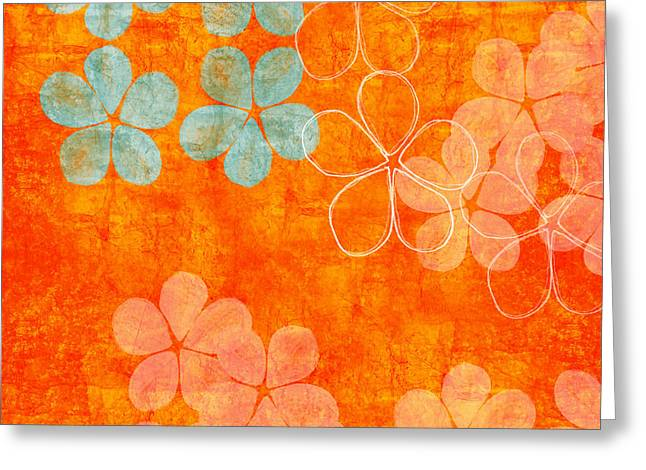 Petal Greeting Cards - Blue Blossom on Orange Greeting Card by Linda Woods