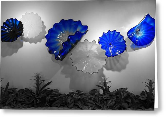 Glass Work Greeting Cards - Blue Blown Glass Greeting Card by Dan Sproul