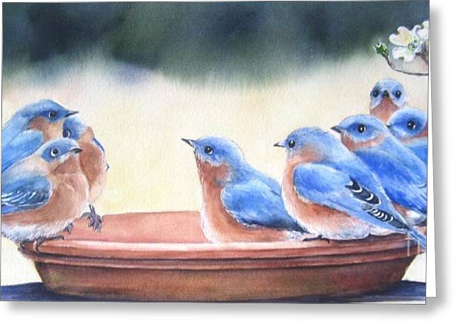 Birdbath Greeting Cards - Blue Board Meeting Greeting Card by Patricia Pushaw
