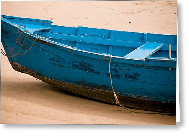 Beachscape Greeting Cards - Blue Boat Greeting Card by Frank Tschakert