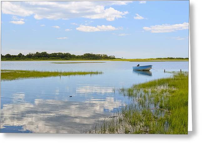 Boats In Reflecting Water Greeting Cards - Blue boat in the backwaters Greeting Card by Marianne Campolongo