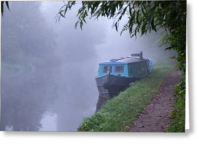 Mark Severn Greeting Cards - Blue Boat Greeting Card by Mark Severn