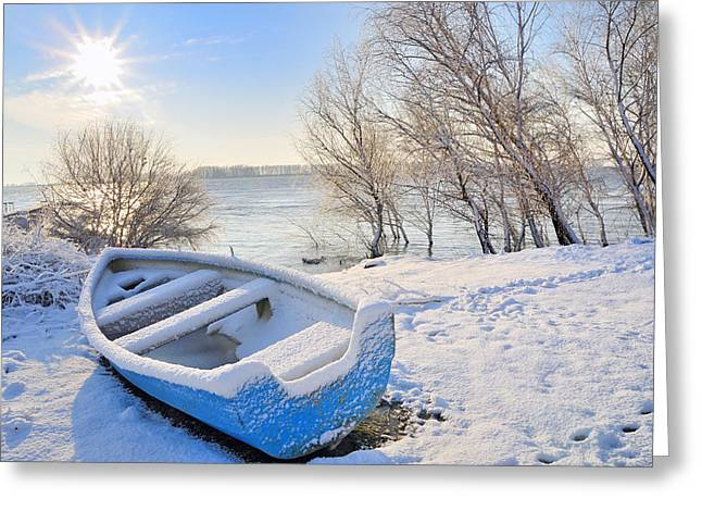 Temperature Greeting Cards - Blue Boat On River Greeting Card by Laurentiu Iordache