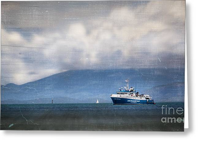 Ocean Photography Digital Art Greeting Cards - Blue Boat Greeting Card by Perry Webster