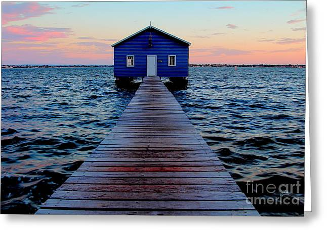 Crawley Greeting Cards - Blue Boatshed on the Swan River Greeting Card by Kaveh Moghaddam