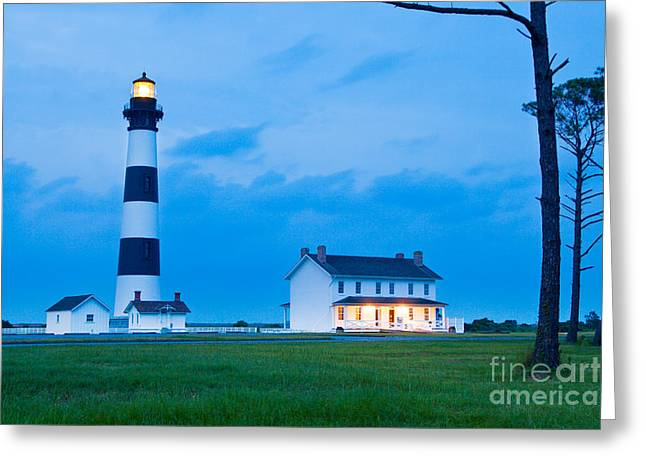 Atlantic Beaches Pyrography Greeting Cards - Blue Bodie Light Greeting Card by Dan Waters