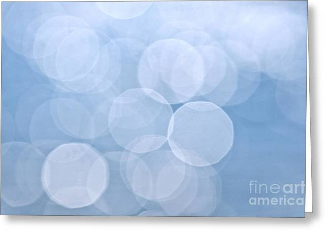 Defocused Greeting Cards - Blue bokeh background Greeting Card by Elena Elisseeva