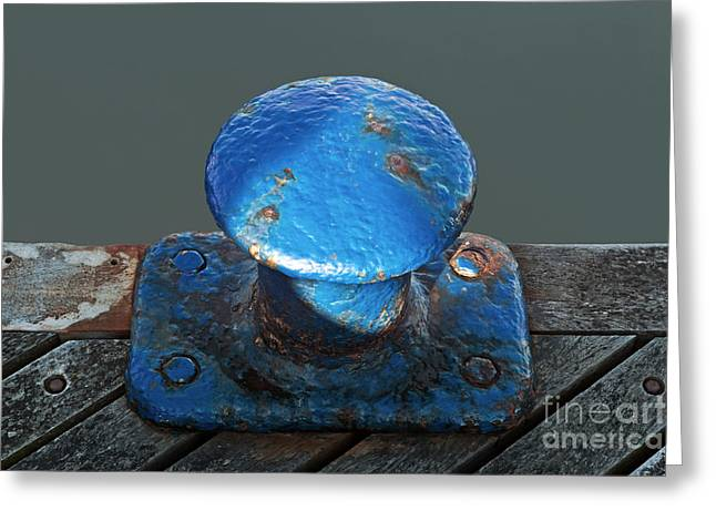 Bollard Greeting Cards - Blue Bollard  Greeting Card by Richard Thomas