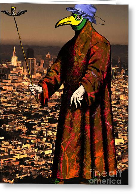 Byzantine Greeting Cards - Blue Bonnet Plague Doctor of San Francisco 20140306 Greeting Card by Wingsdomain Art and Photography