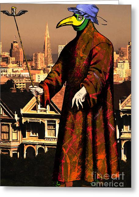 Byzantine Greeting Cards - Blue Bonnet Plague Doctor of San Francisco Alamo Square 20140306 Greeting Card by Wingsdomain Art and Photography