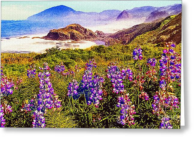 Blue Bonnets On Oregon Coastline Greeting Card by Bob and Nadine Johnston