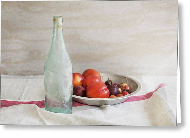 Table Wine Greeting Cards - Blue Bottle and Fresh Fruit Greeting Card by Rich Franco