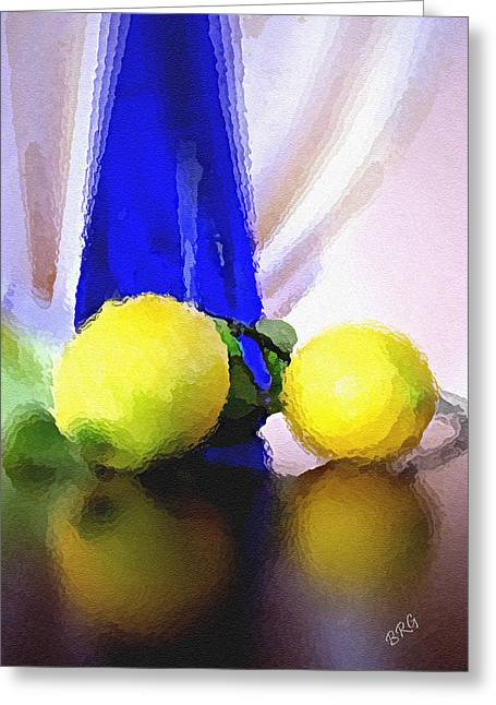Glass Table Reflection Greeting Cards - Blue Bottle And Lemons Greeting Card by Ben and Raisa Gertsberg