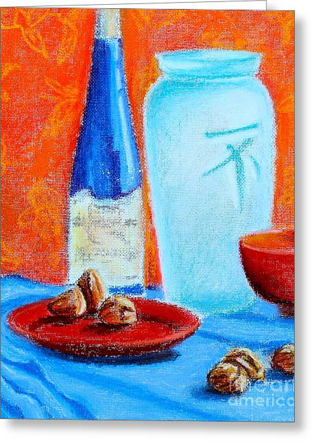 Bowl Pastels Greeting Cards - Blue Bottle and Walnuts Greeting Card by Tricia Lesky