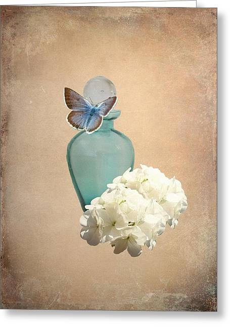 Floral Still Life Mixed Media Greeting Cards - Blue bottle Greeting Card by Sharon Lisa Clarke