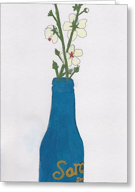 Glass Vase Greeting Cards - Blue Bottle Wildflowers Greeting Card by Jessica and Laura Leinbach