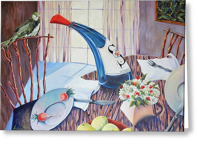 Interior Still Life Paintings Greeting Cards - Blue Bottle with Bird Greeting Card by Andrea Rosenfeld