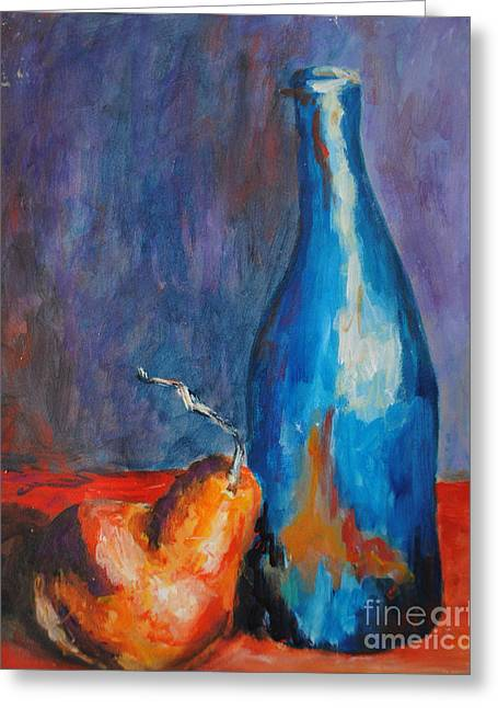 Toelle Hovan Greeting Cards - Blue Bottle with Orange Pear Greeting Card by Toelle Hovan