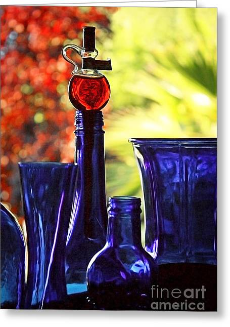 Blue Bottles In Autumn Greeting Card by Ellen Cotton