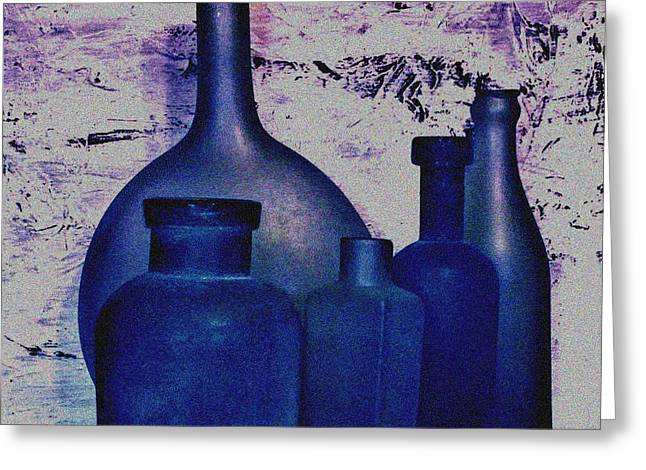 Wrapped Canvas Greeting Cards - Blue Bottles Greeting Card by Marsha Heiken