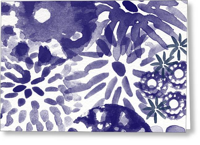 Ceramic Greeting Cards - Blue Bouquet- Contemporary Abstract Floral Art Greeting Card by Linda Woods