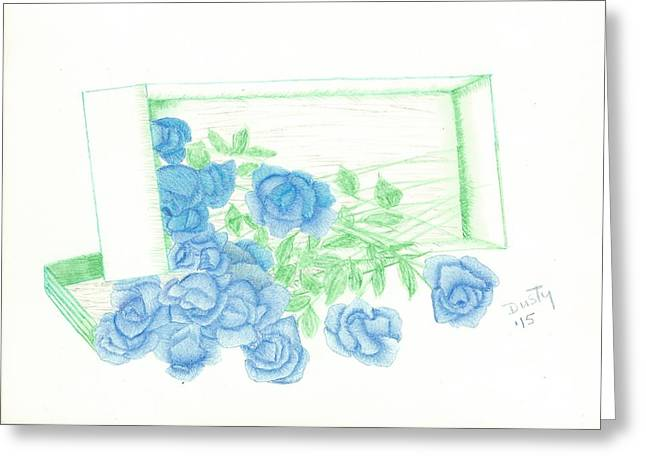 Flower Boxes Drawings Greeting Cards - Blue Bouquet of Roses in Box Greeting Card by Dusty Reed
