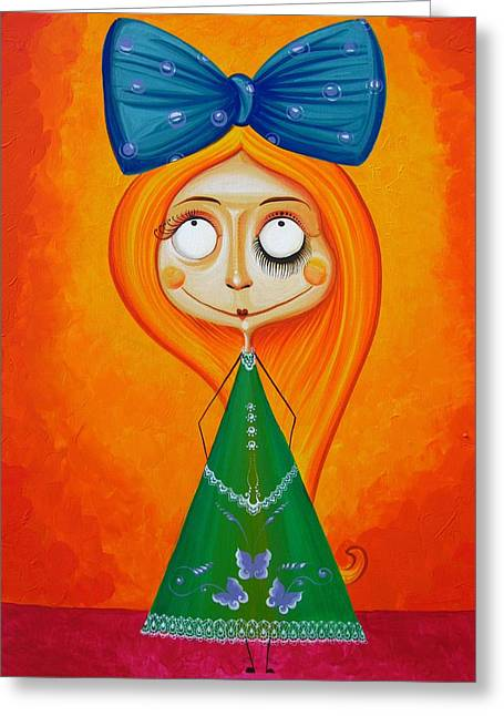 Geschichte Greeting Cards - Blue Bow Fire Hair  Greeting Card by Tiberiu Soos