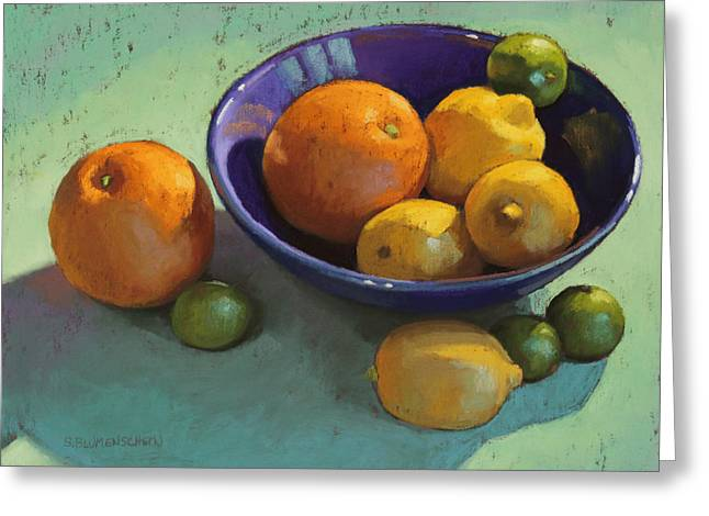 Fruit Pastels Greeting Cards - Blue Bowl 2 Greeting Card by Sarah Blumenschein