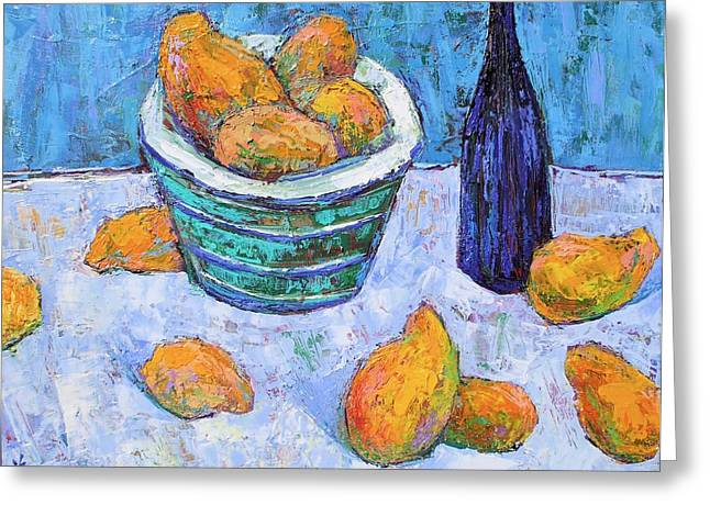Mango Paintings Greeting Cards - Blue bowl of golden mangoes Greeting Card by Siang Hua Wang