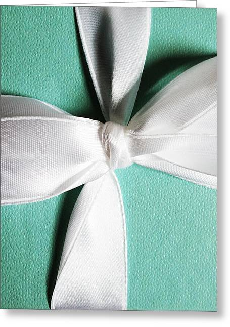 Present Greeting Cards - Blue Box Greeting Card by Christine  Leanne