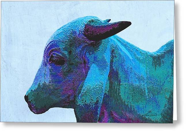Ann Powell Art Greeting Cards - Blue Brahma Greeting Card by Ann Powell