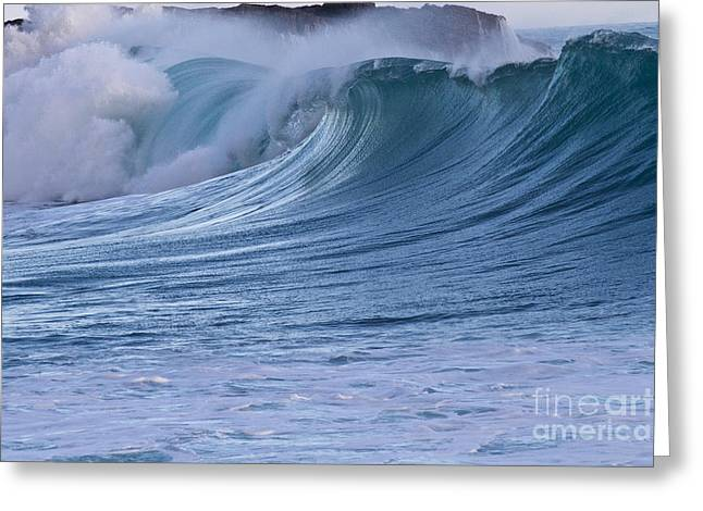 Aquamarin Greeting Cards - Blue breaking wave Greeting Card by Heiko Koehrer-Wagner