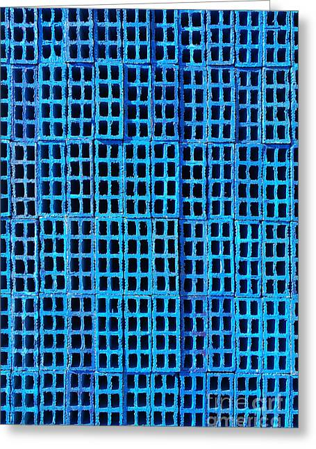 Blue Brick Greeting Cards - Blue Brick Wall Greeting Card by Carlos Caetano
