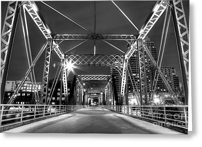 Grand River Greeting Cards - Blue Bridge in Black and White Greeting Card by Twenty Two North Photography