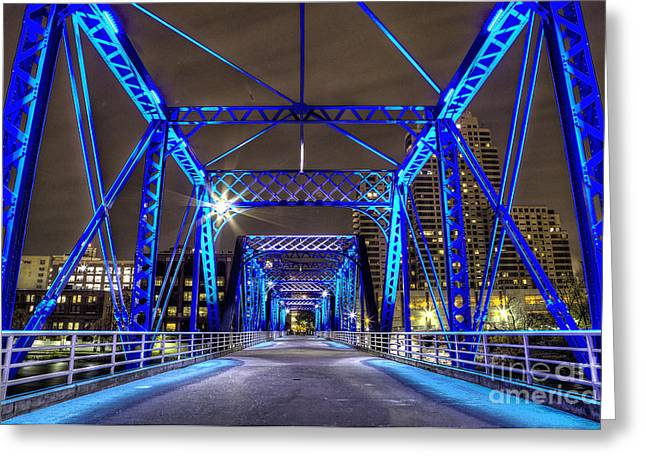 Grand River Greeting Cards - Blue Bridge Greeting Card by Twenty Two North Photography