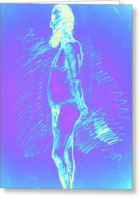 Psycho Drawings Greeting Cards - Blue Brooder Greeting Card by Genio GgXpress