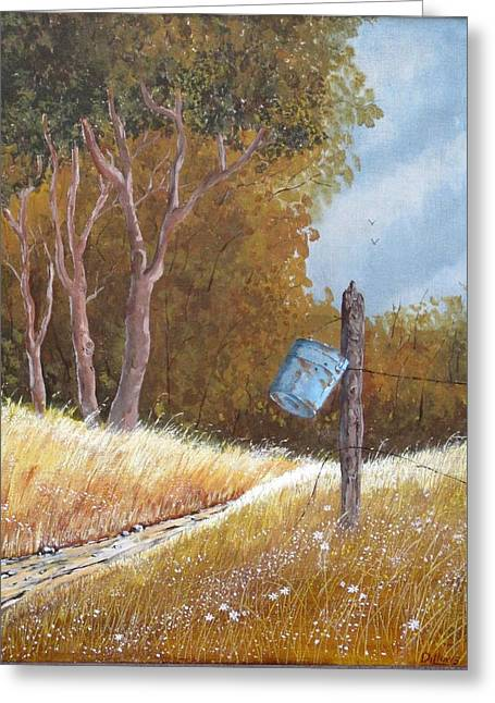 Cushion Greeting Cards - Blue Bucket Greeting Card by Michael Dillon