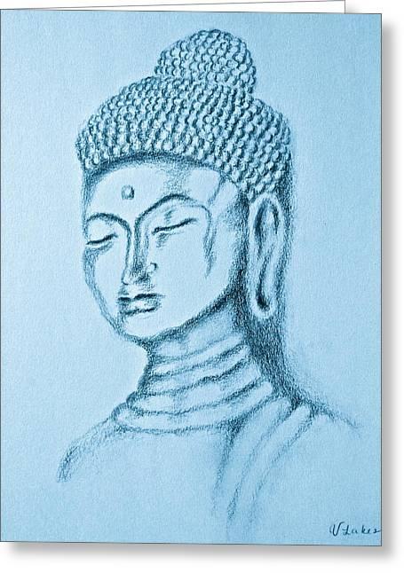 Blue Buddha Greeting Card by Victoria Lakes