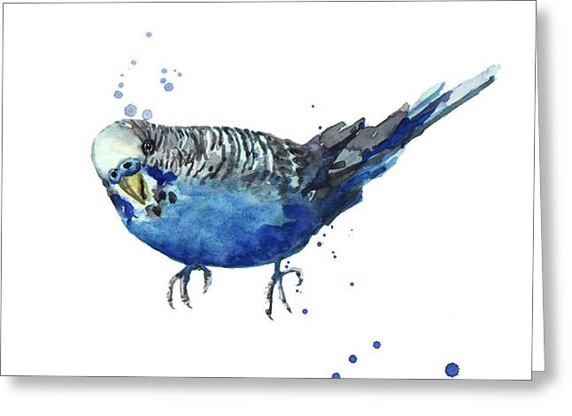 Parakeet Paintings Greeting Cards - Blue Budgerigar Greeting Card by Alison Fennell
