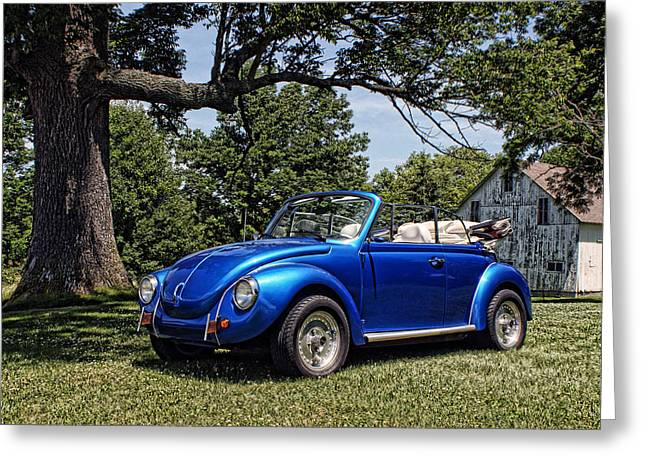 Vw Beetle Greeting Cards - Blue Buggin Greeting Card by Off The Beaten Path Photography - Andrew Alexander