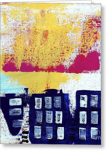 Urban Mixed Media Greeting Cards - Blue Buildings Greeting Card by Linda Woods