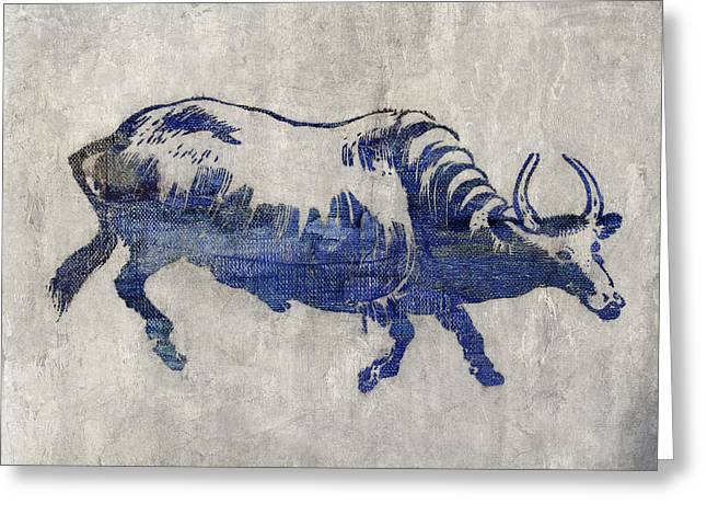 Art Decor Greeting Cards - Blue bull Greeting Card by Aged Pixel