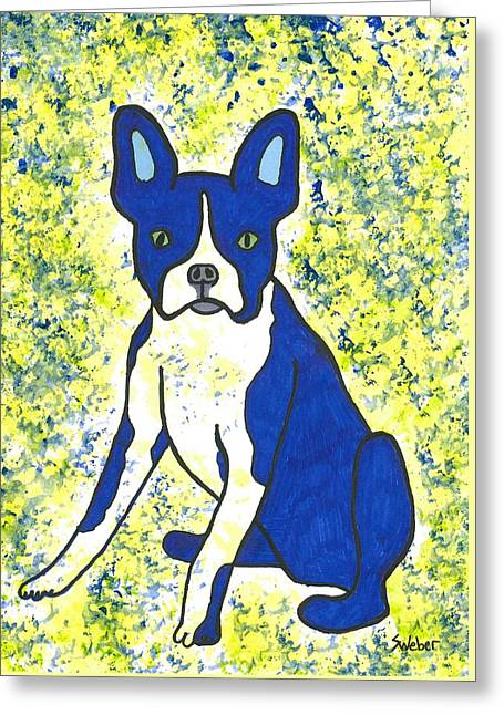 Susie Weber Greeting Cards - Blue Bulldog Greeting Card by Susie Weber