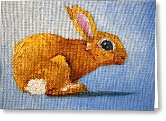 Bunny Greeting Cards - Blue Bunny Greeting Card by Nancy Merkle