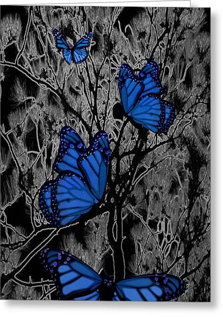 Abstract Digital Mixed Media Greeting Cards - Blue Butterflies Greeting Card by Barbara St Jean