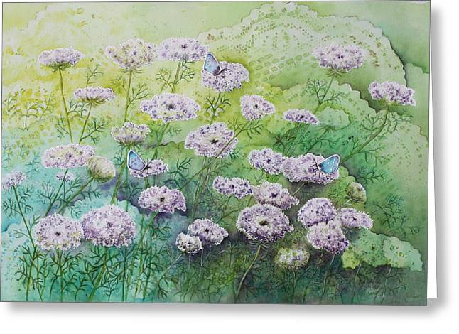 Patsy Sharpe Paintings Greeting Cards - Blue Butterflies Greeting Card by Patsy Sharpe