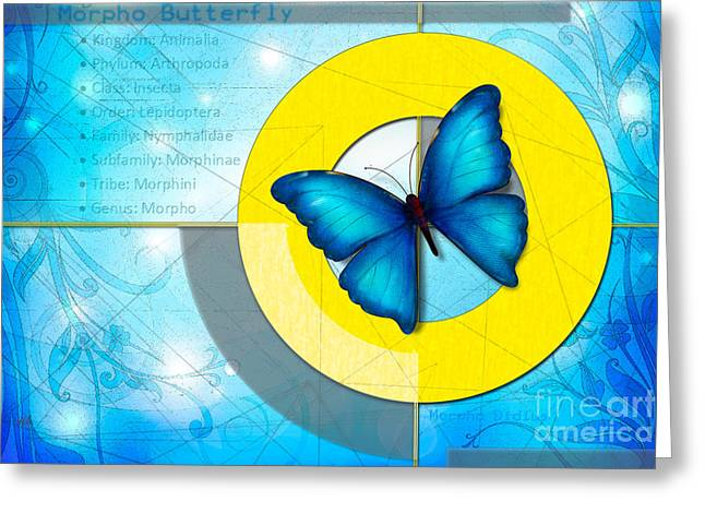 Natural Beauty Mixed Media Greeting Cards - Blue Butterfly Greeting Card by Bedros Awak
